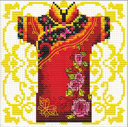 Voorbedrukt borduurpakket Male Geisha Rose - Needleart World