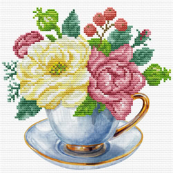 Pre-printed cross stitch kit Blue Cup - Needleart World
