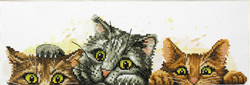 Pre-printed cross stitch kit Curious Kittens - Needleart World