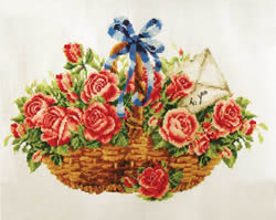 Voorbedrukt borduurpakket Basket of Roses - Needleart World