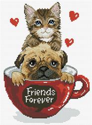 Voorbedrukt borduurpakket Friends Forever - Needleart World