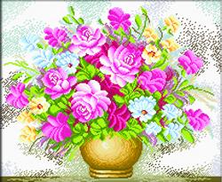 Voorbedrukt borduurpakket Vase of Flowers - Needleart World