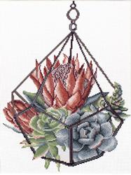 Voorbedrukt borduurpakket Succulent Garden 1 - Needleart World
