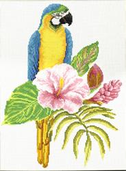 Voorbedrukt borduurpakket Hibiscus Macaw - Needleart World