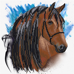Pre-printed cross stitch kit Stallion Groom - Needleart World