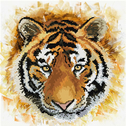 Pre-printed cross stitch kit Tiger charge - Needleart World