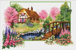 Voorbedrukt borduurpakket Spring Cottage - Needleart World