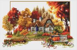 Voorbedrukt borduurpakket Autumn Cottage - Needleart World