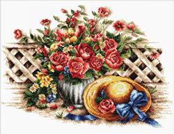 Voorbedrukt borduurpakket Roses & Sunhat - Needleart World