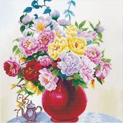 Voorbedrukt borduurpakket Cabbage Roses in a Vase - Needleart World