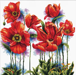 Voorbedrukt borduurpakket Lovely Poppies - Needleart World