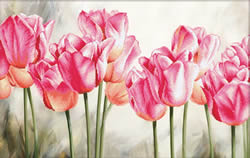 Voorbedrukt borduurpakket Pink Tulips - Needleart World