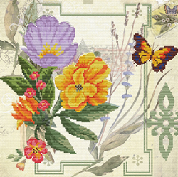 Pre-printed cross stitch kit Peony Bouquet - Needleart World