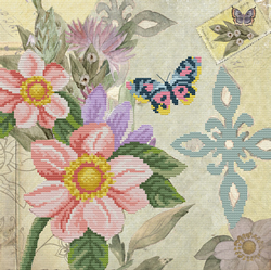 Pre-printed cross stitch kit Butterfly Garden - Needleart World