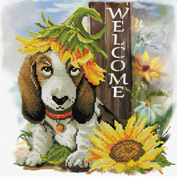 Pre-printed cross stitch kit Sunflower Hound - Needleart World