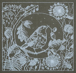 Borduurpakket White Lace - Bird - PANNA