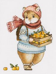 Borduurpakket Hamster and Mandarins - PANNA