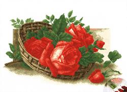 Voorbedrukt borduurpakket Roses in a Basket - PC-Studia