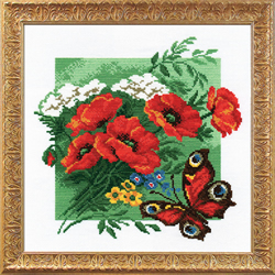 Voorbedrukt borduurpakket Poppies with Butterfly - PC-Studia