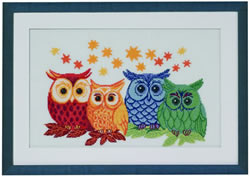 Borduurpakket Owls in Different Colors - Permin