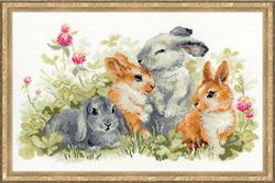 Borduurpakket Funny Rabbits - RIOLIS