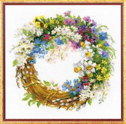 Borduurpakket Wreath with Bird Cherry - RIOLIS