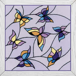 Borduurpakket Cushion/Pannel Stained Glass Window - Butterflies - RIOLIS