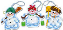 Borduurpakket Christmas Tree Decoration Snowmen - RIOLIS
