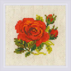 Borduurpakket Red Rose - RIOLIS
