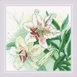 Borduurpakket White Lilies - RIOLIS