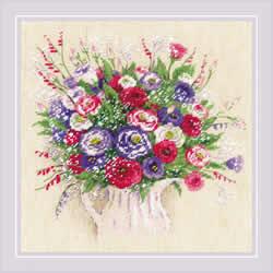 Borduurpakket Bouquet with Eustoma and Gypsophila - RIOLIS
