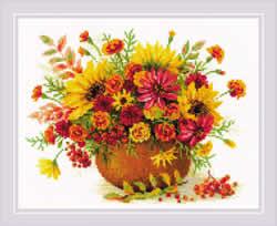Borduurpakket Autumn Flowers - RIOLIS