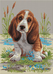 Diamond Mosaic Basset Hound Puppy - RIOLIS