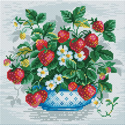 Diamond Mosaic Basket of Strawberries - RIOLIS
