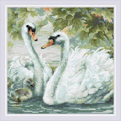 Diamond Mosaic White Swans  - RIOLIS