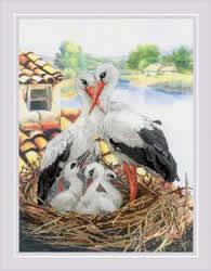 Borduurpakket Stork Family - RIOLIS