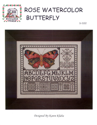 Borduurpatroon Rose Watercolor Butterfly - Rosewood Manor