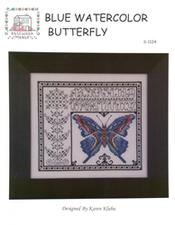 Borduurpatroon Blue Watercolor Butterfly - Rosewood Manor