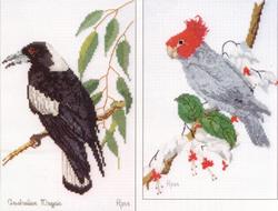 Borduurpatroon Magpie & Gang-gang Cockatoo - Ross Originals
