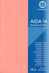 Borduurstof Aida 14 count - Pink Salmon - RTO