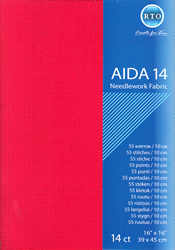 Borduurstof Aida 14 count - Red - RTO