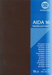 Borduurstof Aida 16 count - Black - RTO