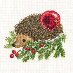 Borduurpakket Hedgehog Decorating Christmas Tree - RTO