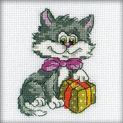 Borduurpakket Kitty with present - RTO