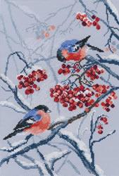 Borduurpakket Bullfinches in Rowanberries - RTO