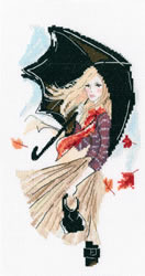Borduurpakket Girl, Rain and Umbrella - RTO