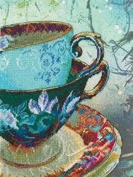 Borduurpakket Antique Porcelain met bedrukte achtergrond - RTO