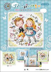 Borduurpatroon Alice and a Clock Rabbit - Soda Stitch