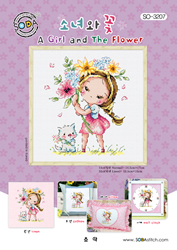 Borduurpatroon A Girl and the Flower - Soda Stitch