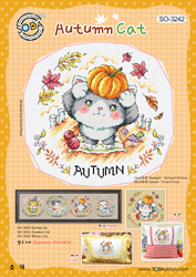 Borduurpatroon Autumn Cat - Soda Stitch